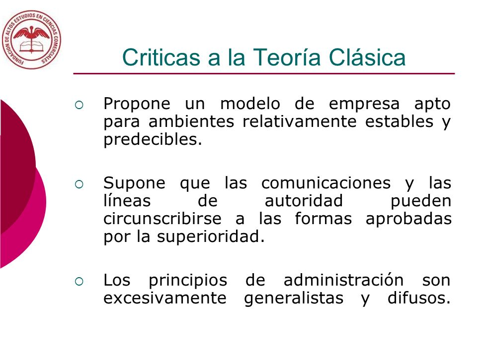 Criticas a la Teoría Clásica