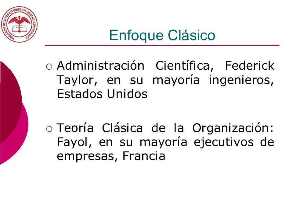 Enfoque Clásico Administración Científica, Federick Taylor, en su mayoría ingenieros, Estados Unidos.
