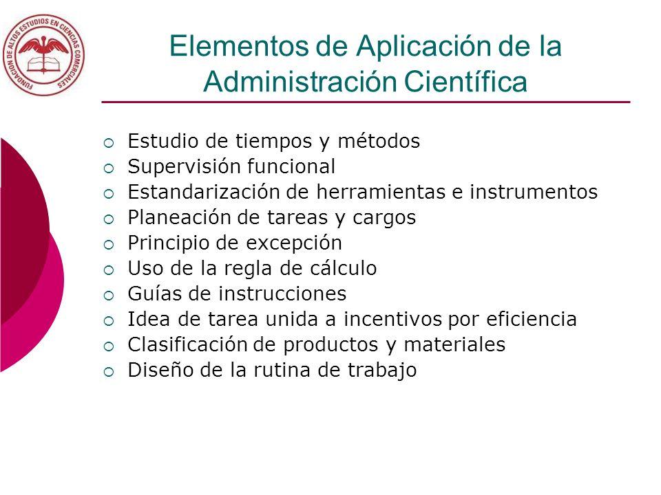 Elementos de Aplicación de la Administración Científica