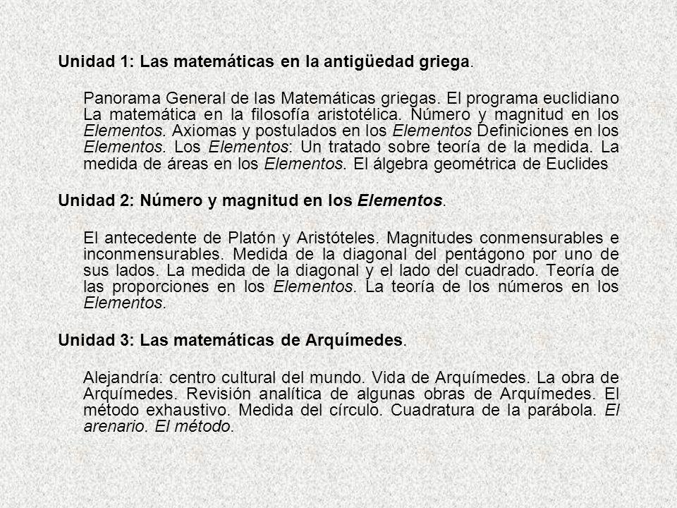 Unidad 1: Las matemáticas en la antigüedad griega.