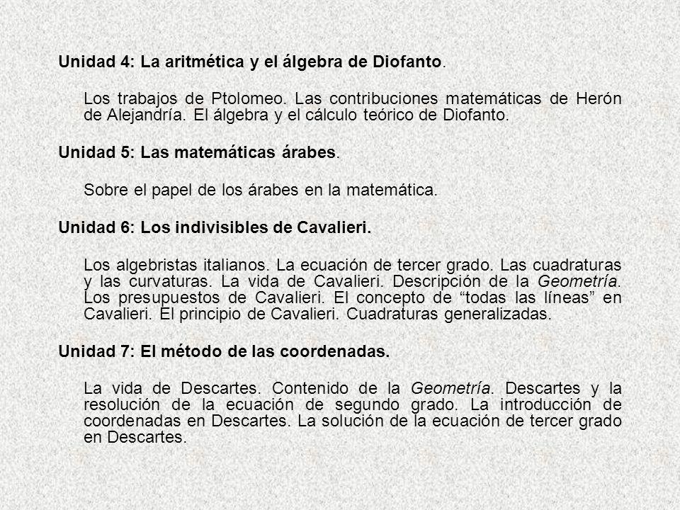 Unidad 4: La aritmética y el álgebra de Diofanto.