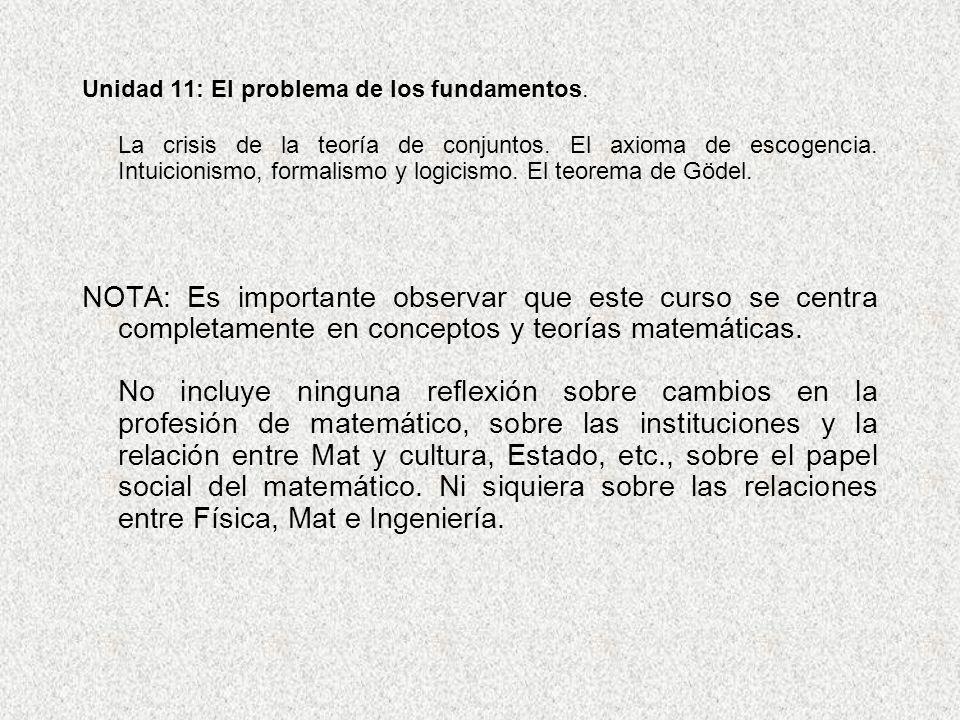 Unidad 11: El problema de los fundamentos.