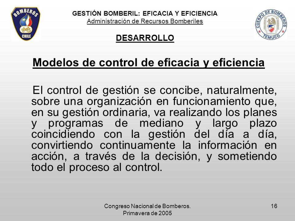 Modelos de control de eficacia y eficiencia