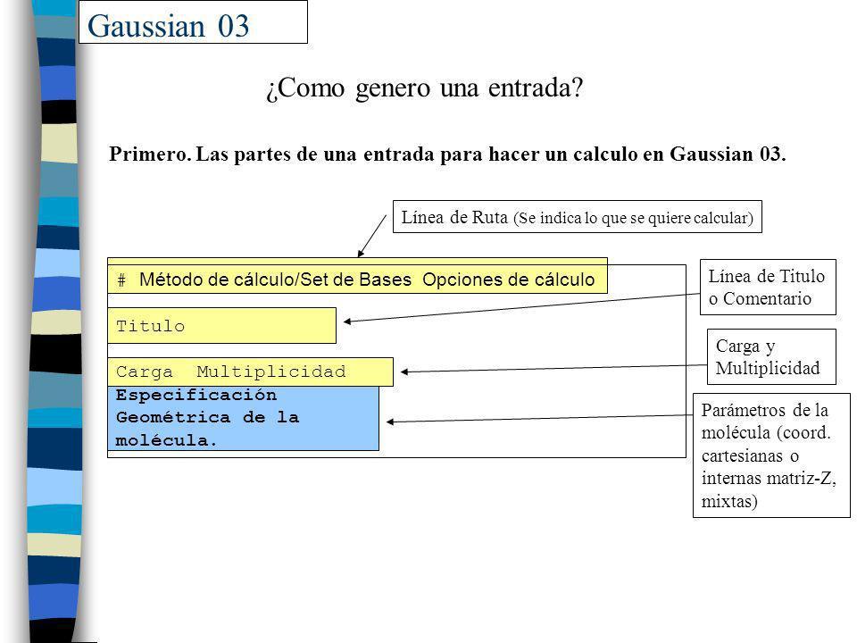 Gaussian 03 ¿Como genero una entrada