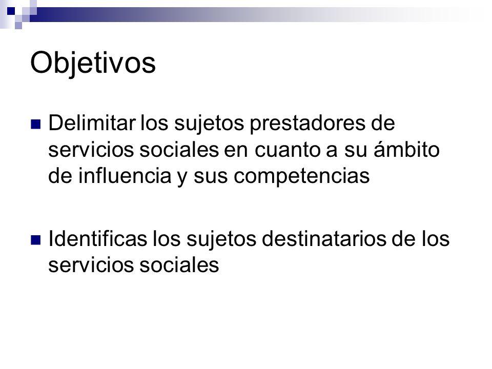 Objetivos Delimitar los sujetos prestadores de servicios sociales en cuanto a su ámbito de influencia y sus competencias.