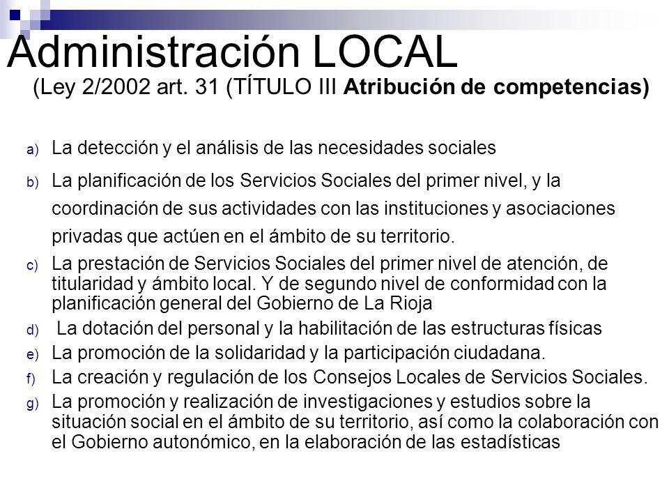 Administración LOCAL (Ley 2/2002 art. 31 (TÍTULO III Atribución de competencias) La detección y el análisis de las necesidades sociales.