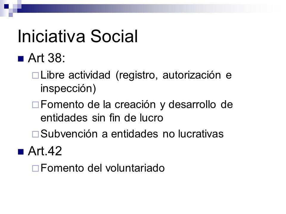 Iniciativa Social Art 38: Art.42
