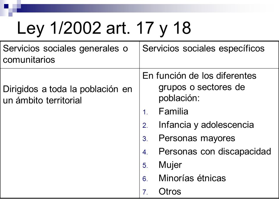 Ley 1/2002 art. 17 y 18 Servicios sociales generales o comunitarios