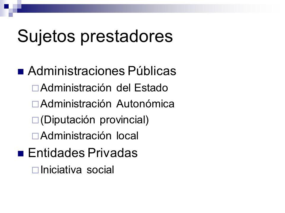 Sujetos prestadores Administraciones Públicas Entidades Privadas