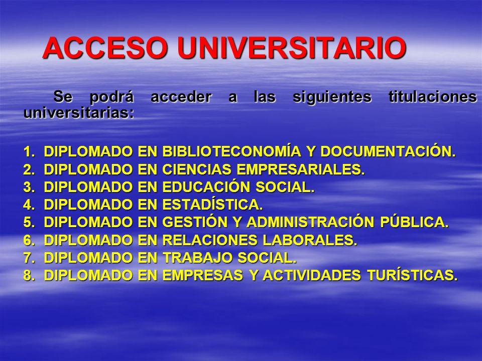 ACCESO UNIVERSITARIO Se podrá acceder a las siguientes titulaciones universitarias: 1. DIPLOMADO EN BIBLIOTECONOMÍA Y DOCUMENTACIÓN.