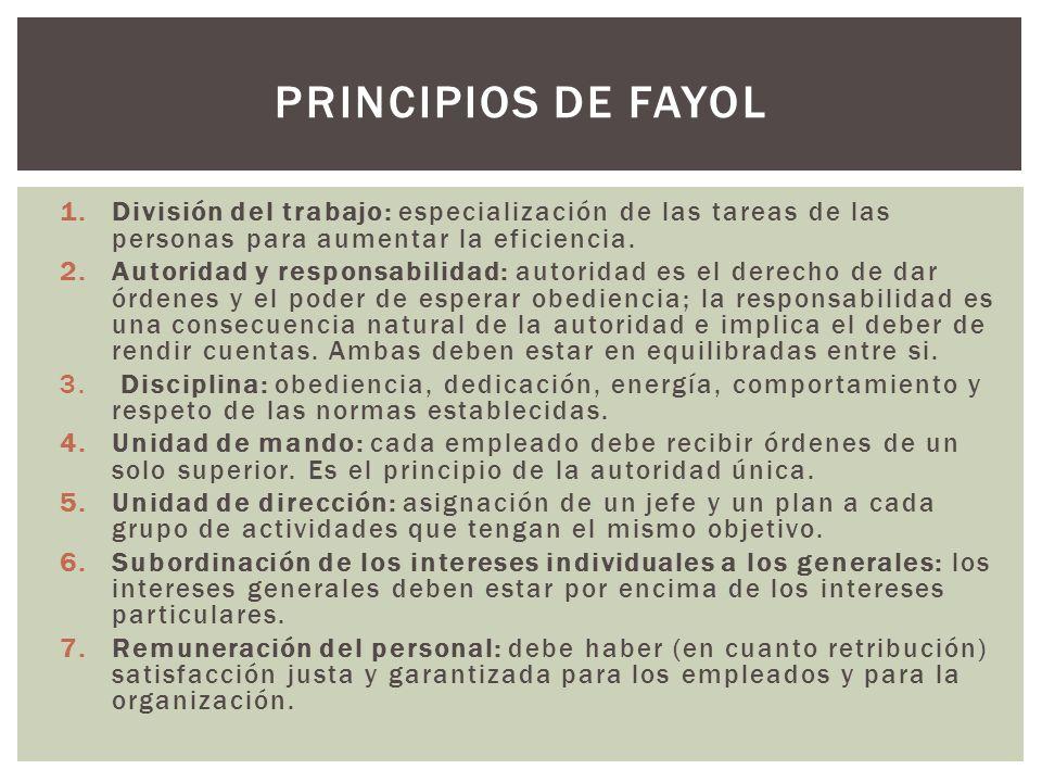 Principios de fayol División del trabajo: especialización de las tareas de las personas para aumentar la eficiencia.