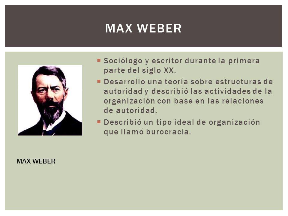 Max weber Sociólogo y escritor durante la primera parte del siglo XX.