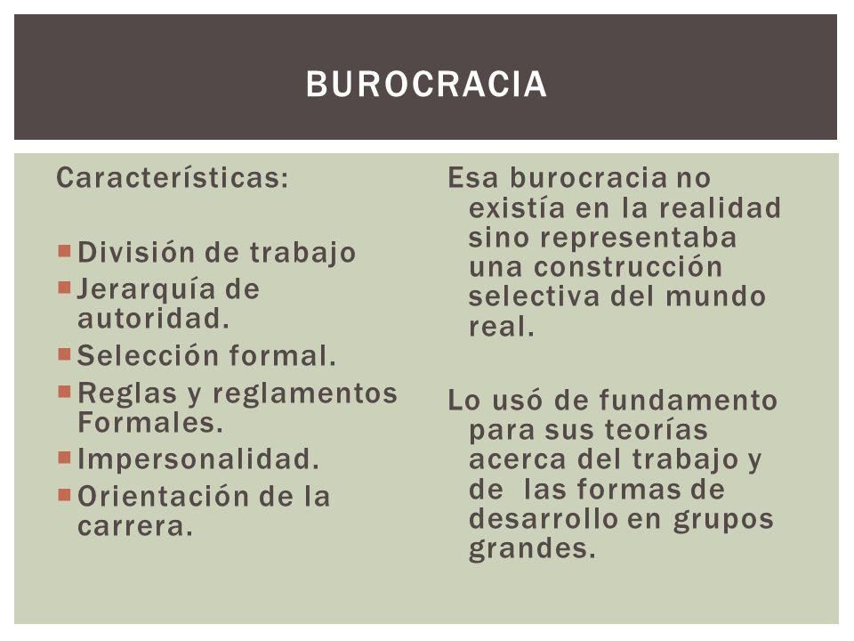 Burocracia Características: División de trabajo