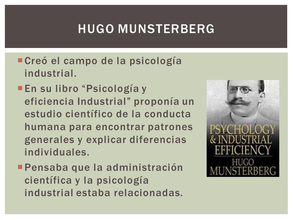 Hugo munsterberg Creó el campo de la psicología industrial.