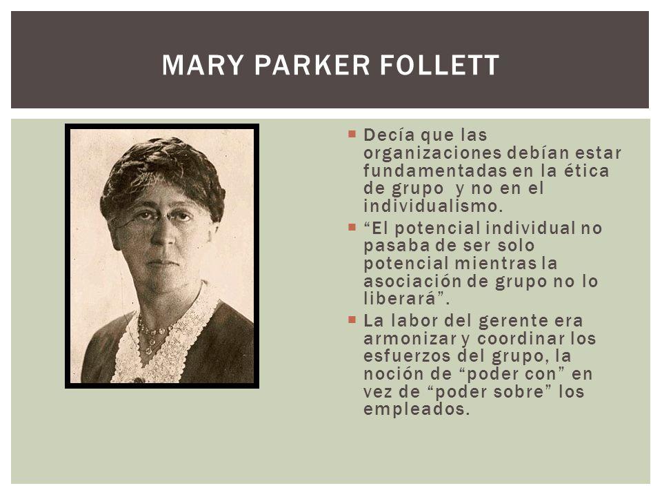 Mary parker Follett Decía que las organizaciones debían estar fundamentadas en la ética de grupo y no en el individualismo.