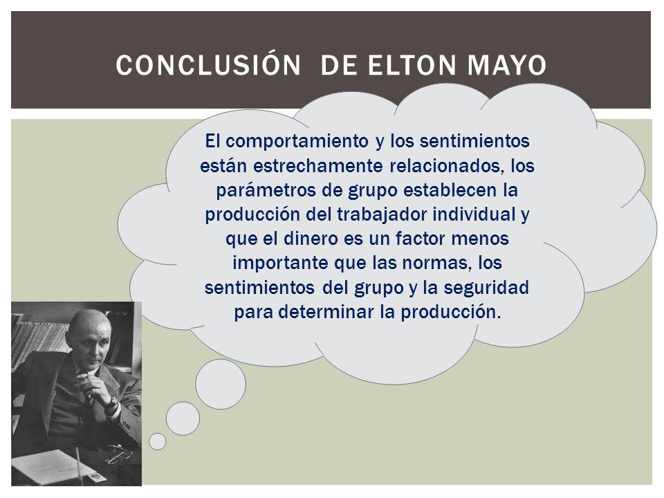 Conclusión de Elton Mayo