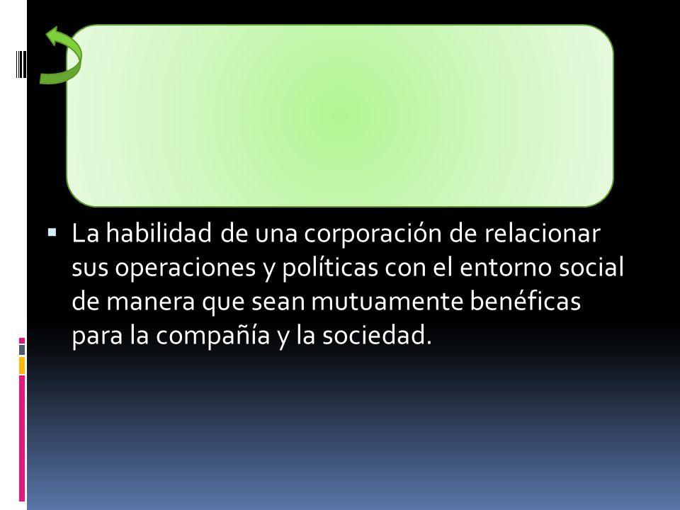 La habilidad de una corporación de relacionar sus operaciones y políticas con el entorno social de manera que sean mutuamente benéficas para la compañía y la sociedad.