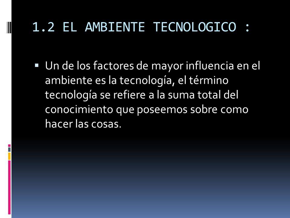 1.2 EL AMBIENTE TECNOLOGICO :