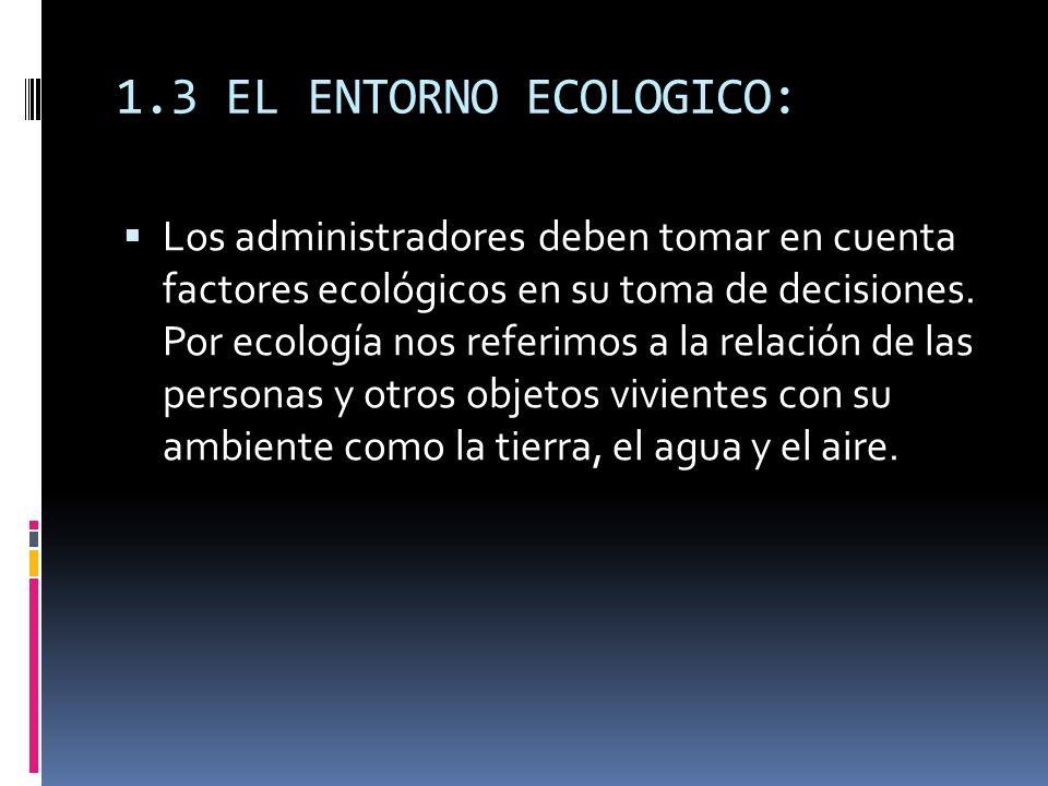 1.3 EL ENTORNO ECOLOGICO: