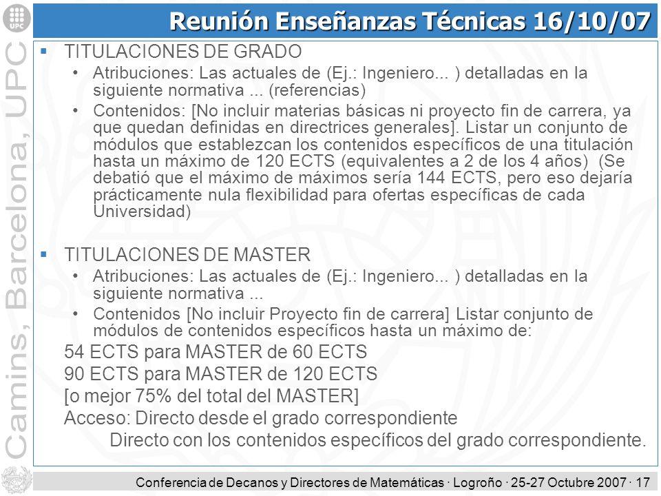 Reunión Enseñanzas Técnicas 16/10/07