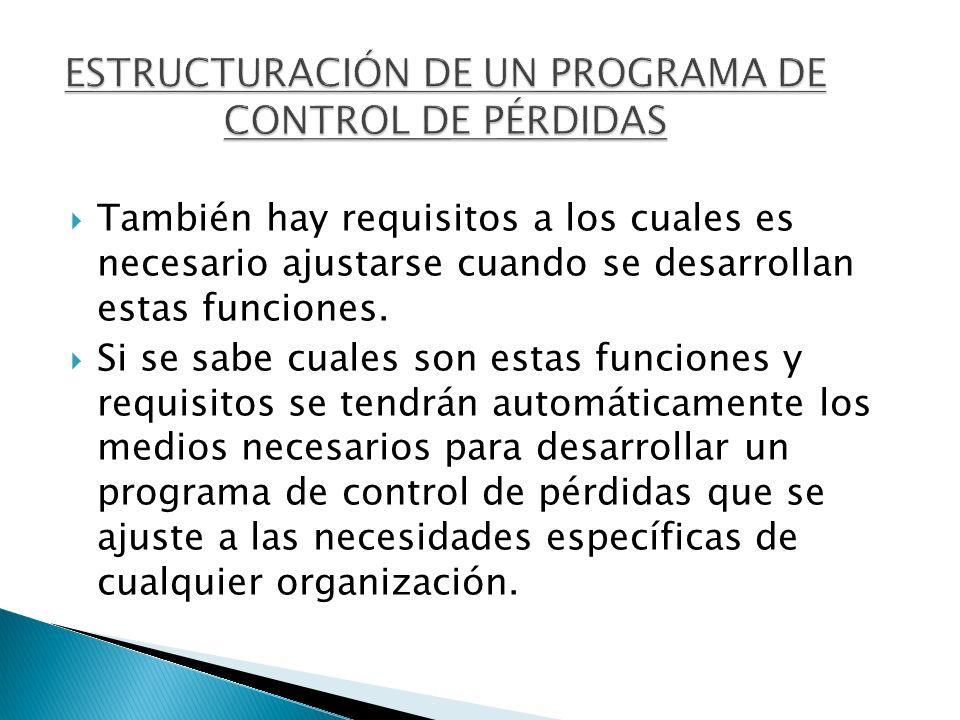 ESTRUCTURACIÓN DE UN PROGRAMA DE CONTROL DE PÉRDIDAS