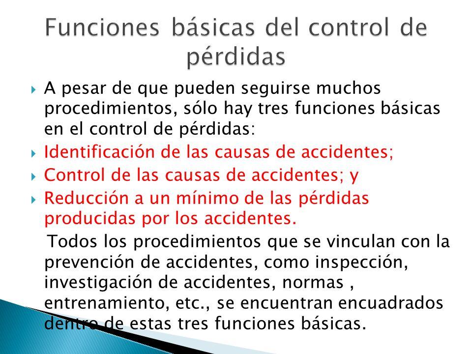 Funciones básicas del control de pérdidas