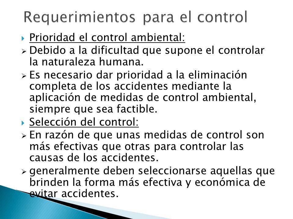 Requerimientos para el control