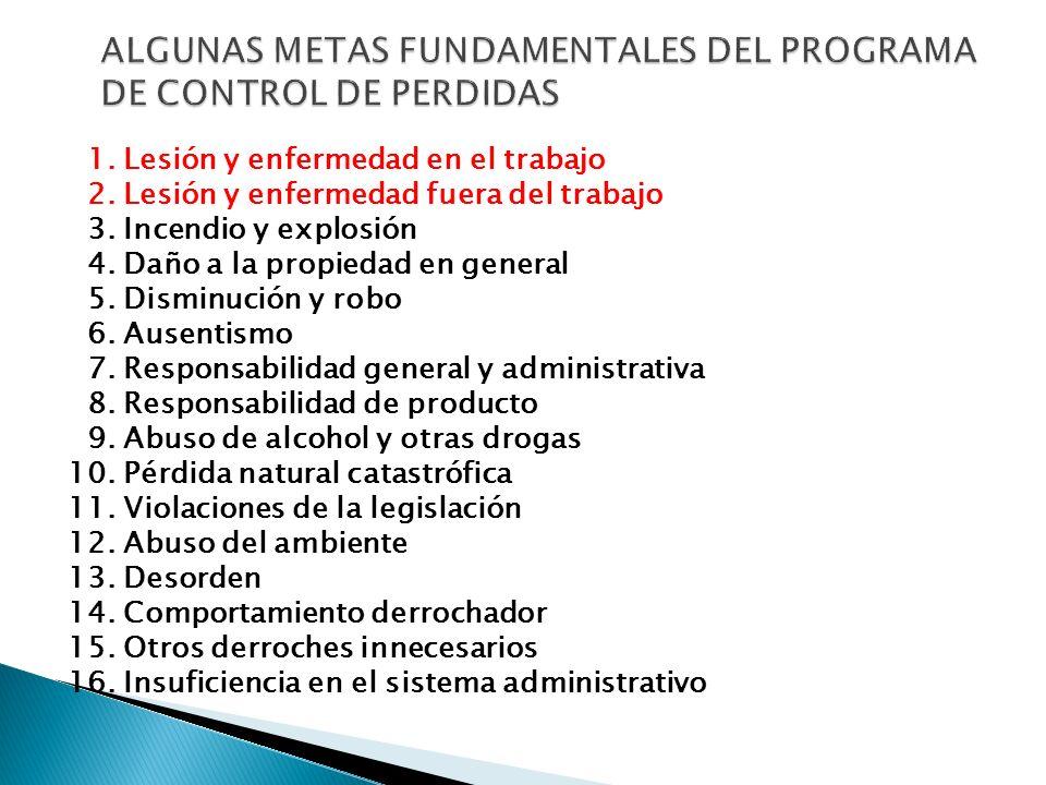 ALGUNAS METAS FUNDAMENTALES DEL PROGRAMA DE CONTROL DE PERDIDAS