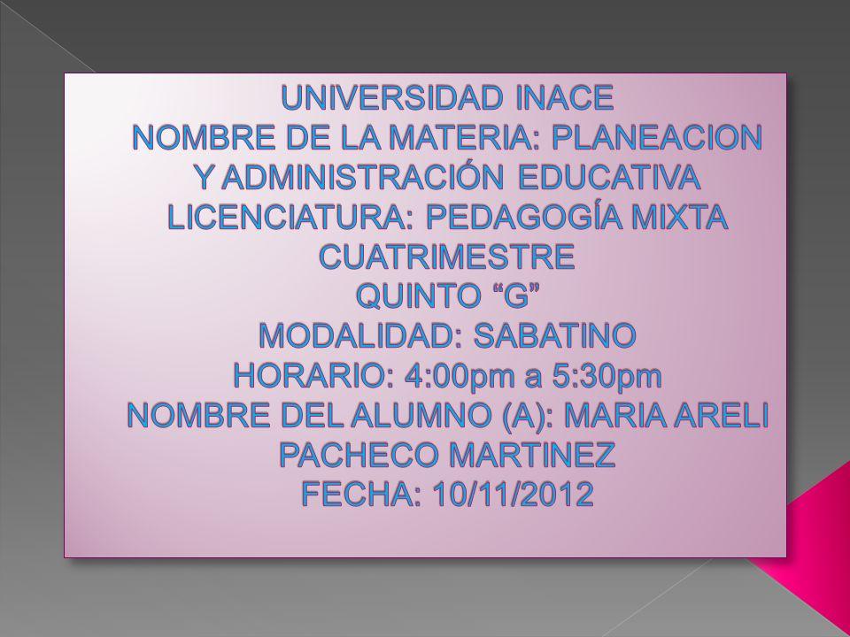 UNIVERSIDAD INACE NOMBRE DE LA MATERIA: PLANEACION Y ADMINISTRACIÓN EDUCATIVA LICENCIATURA: PEDAGOGÍA MIXTA CUATRIMESTRE QUINTO G MODALIDAD: SABATINO HORARIO: 4:00pm a 5:30pm NOMBRE DEL ALUMNO (A): MARIA ARELI PACHECO MARTINEZ FECHA: 10/11/2012