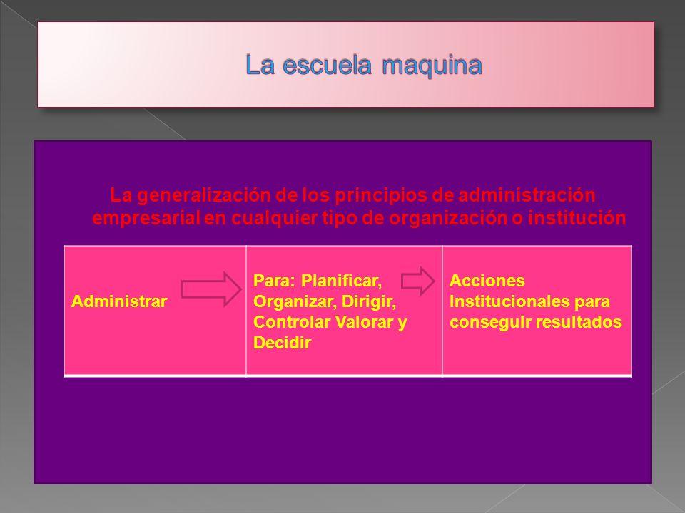 La escuela maquina La generalización de los principios de administración empresarial en cualquier tipo de organización o institución.