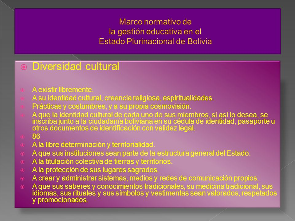 Marco normativo de la gestión educativa en el Estado Plurinacional de Bolivia