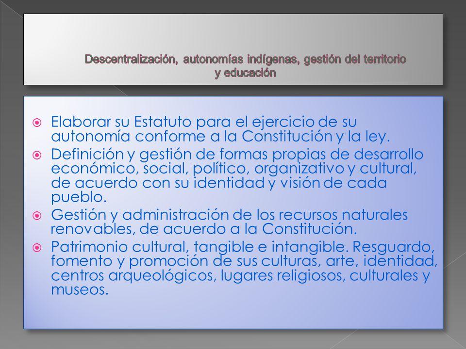 Descentralización, autonomías indígenas, gestión del territorio y educación