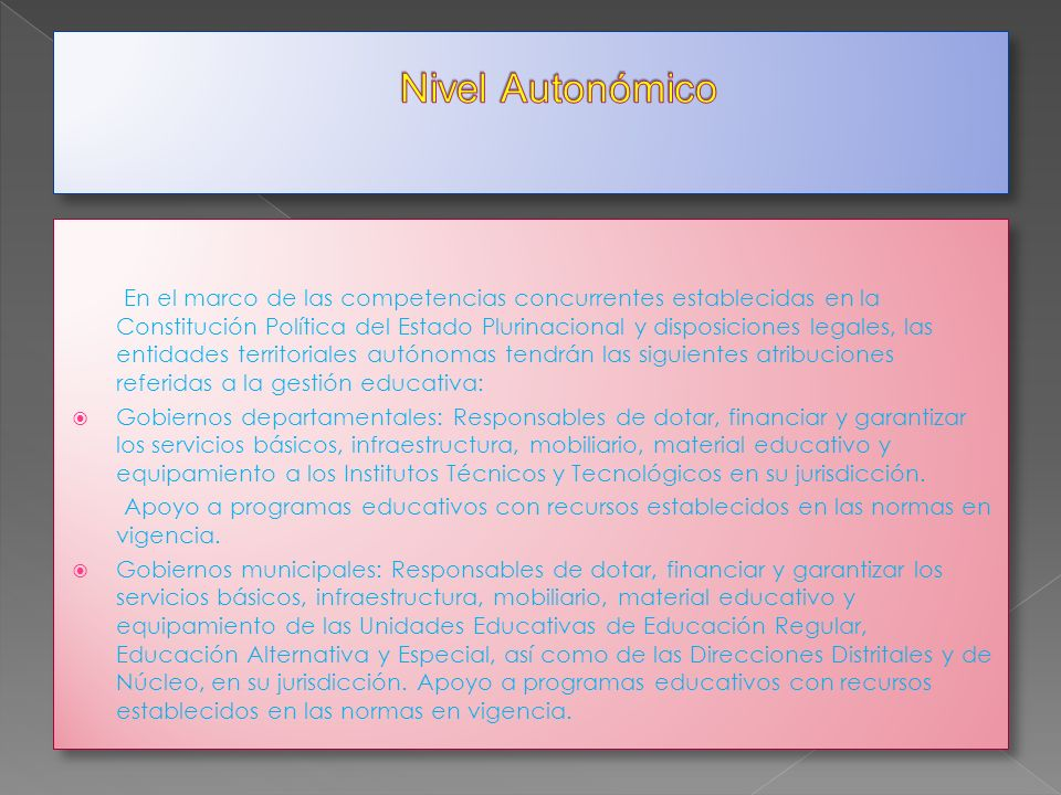 Nivel Autonómico