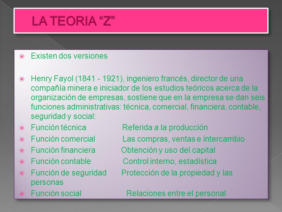 LA TEORIA Z Existen dos versiones