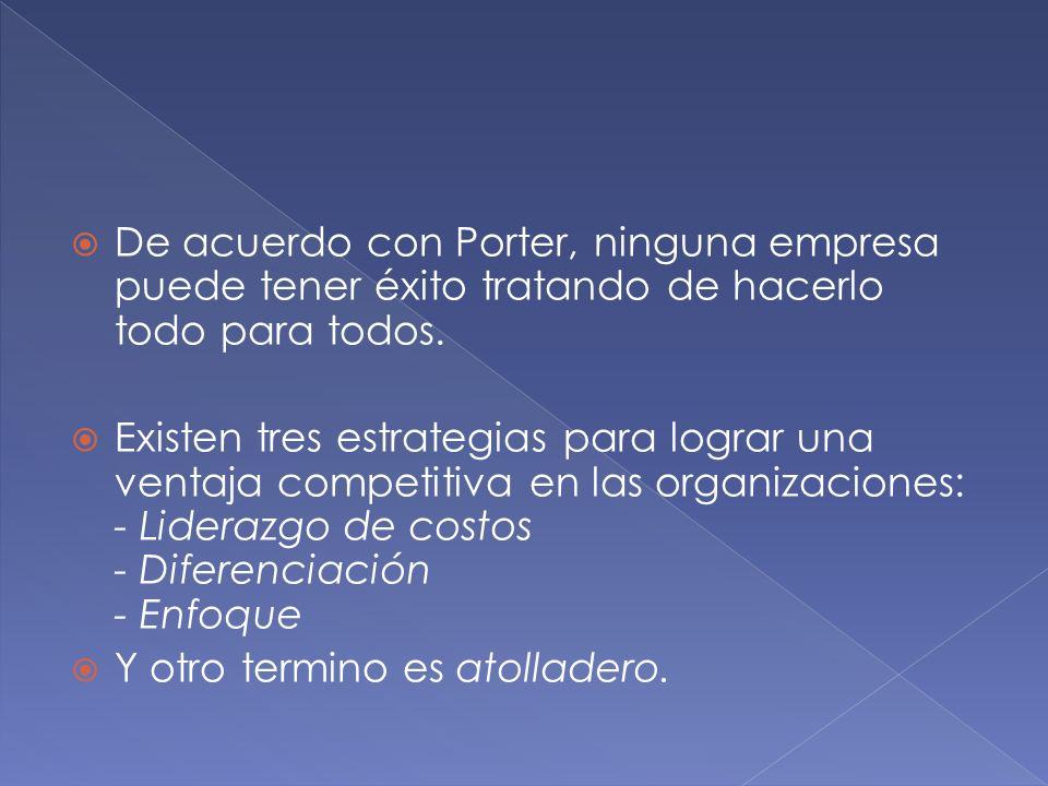 De acuerdo con Porter, ninguna empresa puede tener éxito tratando de hacerlo todo para todos.