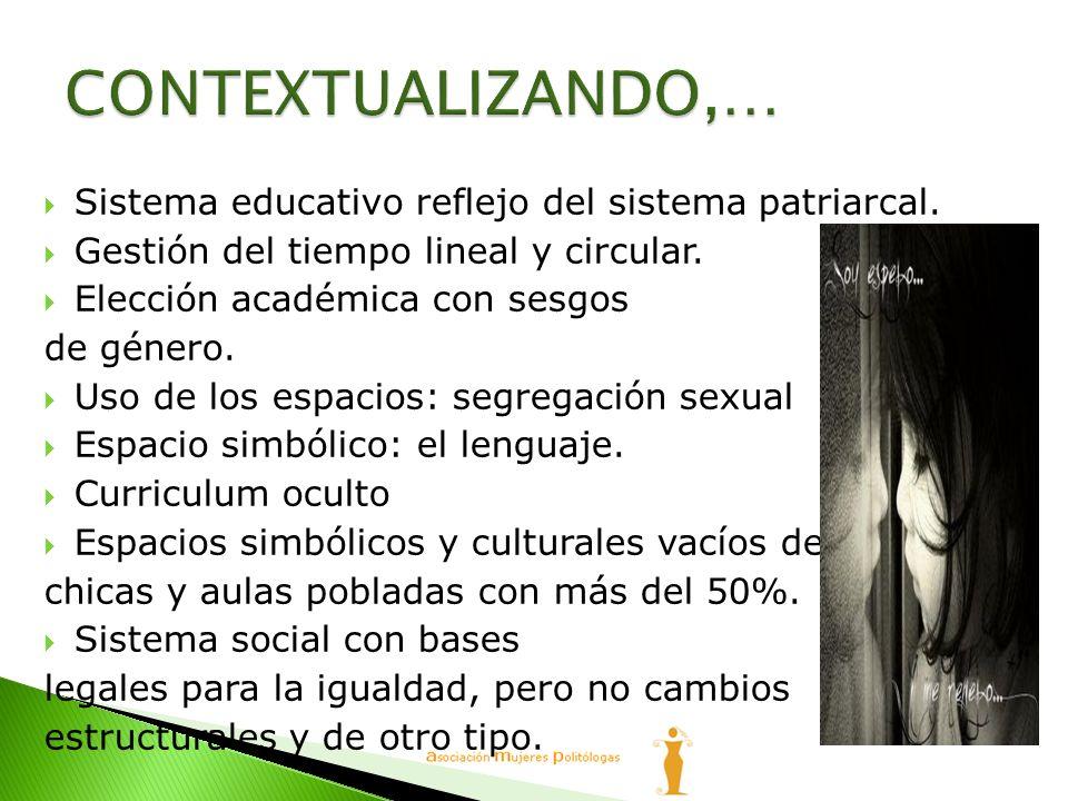 CONTEXTUALIZANDO,… Sistema educativo reflejo del sistema patriarcal.