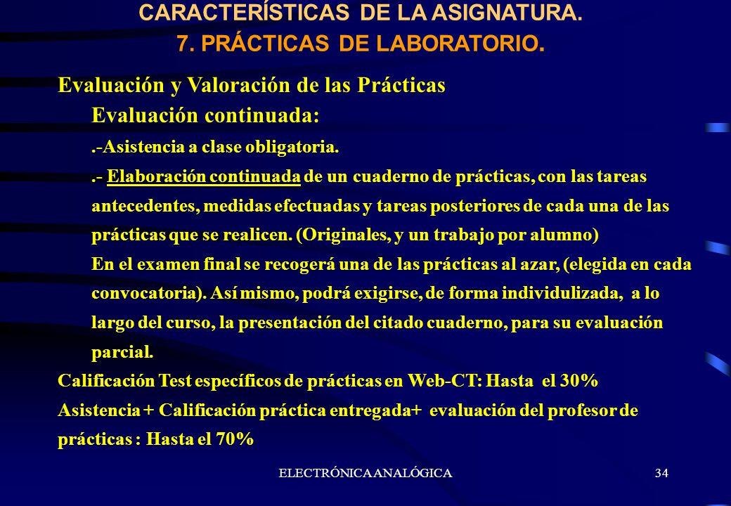 CARACTERÍSTICAS DE LA ASIGNATURA. 7. PRÁCTICAS DE LABORATORIO.