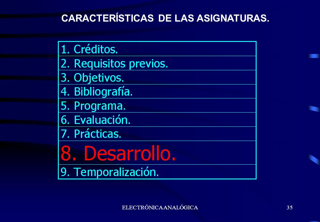 CARACTERÍSTICAS DE LAS ASIGNATURAS.