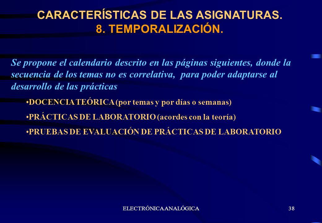 CARACTERÍSTICAS DE LAS ASIGNATURAS. 8. TEMPORALIZACIÓN.