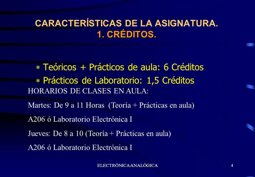 CARACTERÍSTICAS DE LA ASIGNATURA. 1. CRÉDITOS.