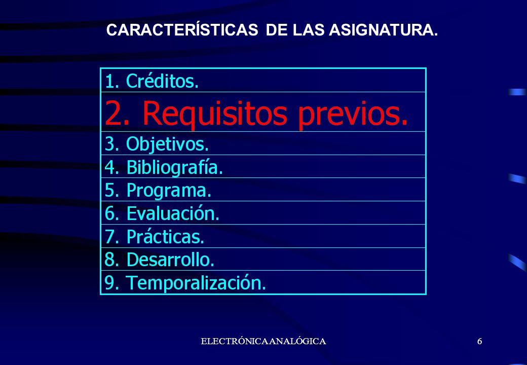 CARACTERÍSTICAS DE LAS ASIGNATURA.