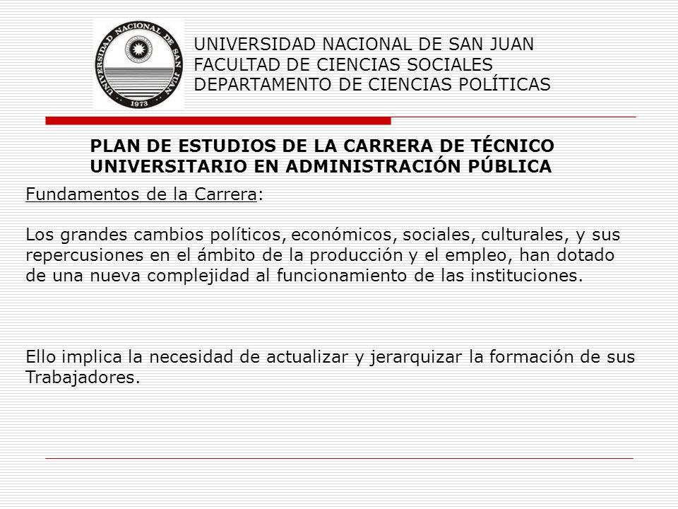 PLAN DE ESTUDIOS DE LA CARRERA DE TÉCNICO UNIVERSITARIO EN ADMINISTRACIÓN PÚBLICA