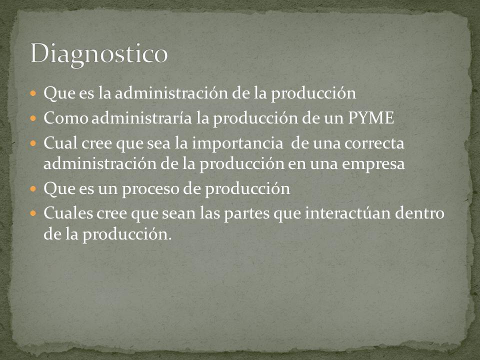 Diagnostico Que es la administración de la producción
