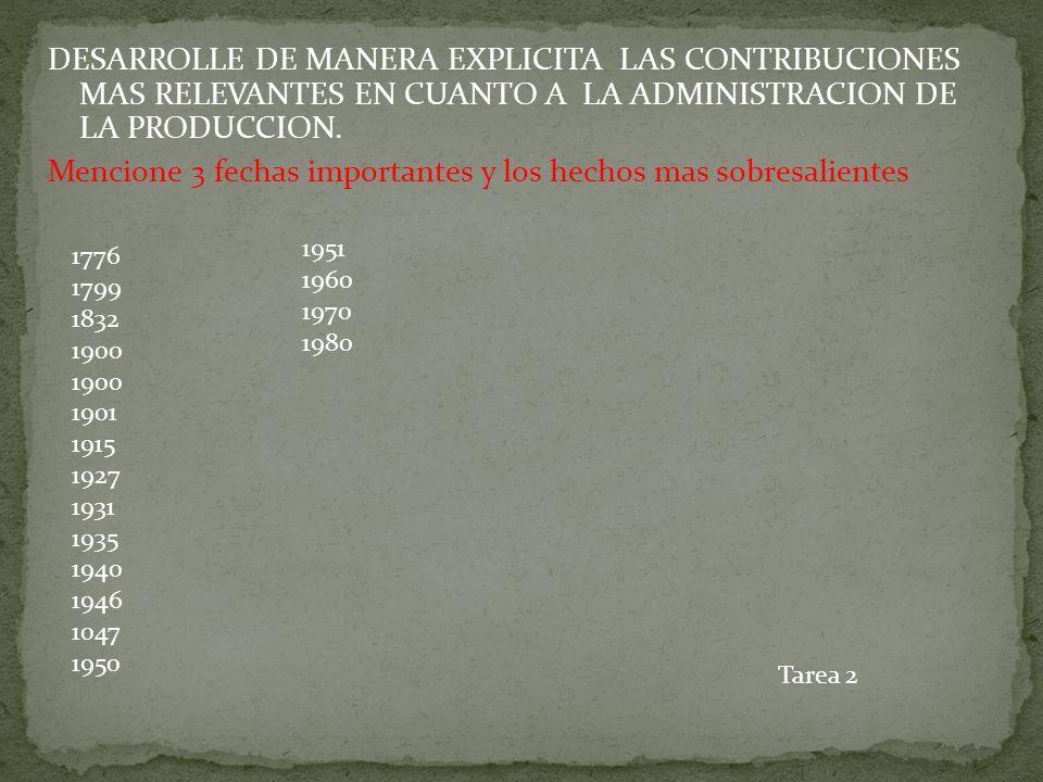 DESARROLLE DE MANERA EXPLICITA LAS CONTRIBUCIONES MAS RELEVANTES EN CUANTO A LA ADMINISTRACION DE LA PRODUCCION. Mencione 3 fechas importantes y los hechos mas sobresalientes