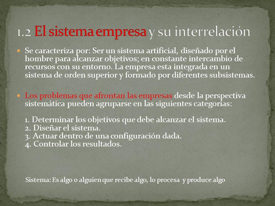 1.2 El sistema empresa y su interrelación