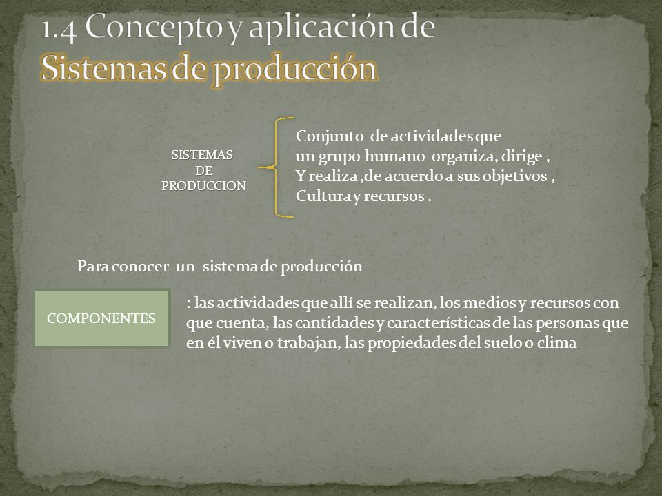 1.4 Concepto y aplicación de Sistemas de producción