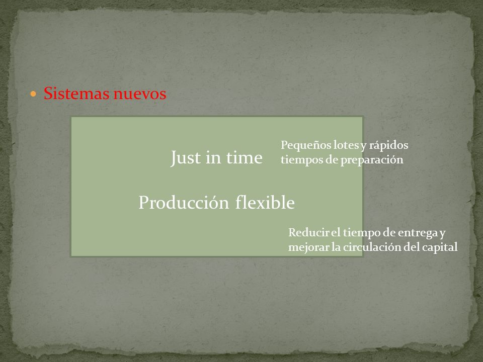 Just in time Producción flexible Sistemas nuevos