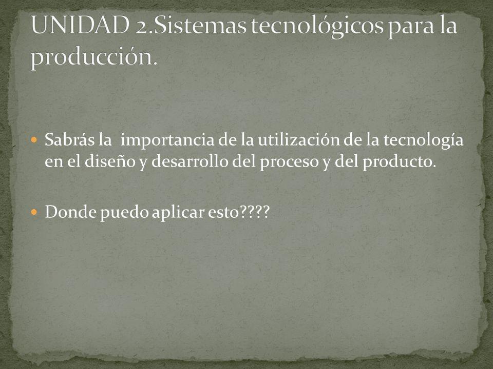 UNIDAD 2.Sistemas tecnológicos para la producción.
