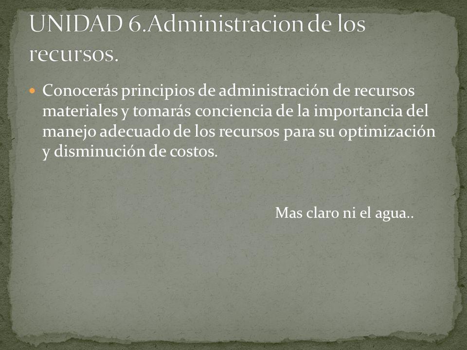 UNIDAD 6.Administracion de los recursos.