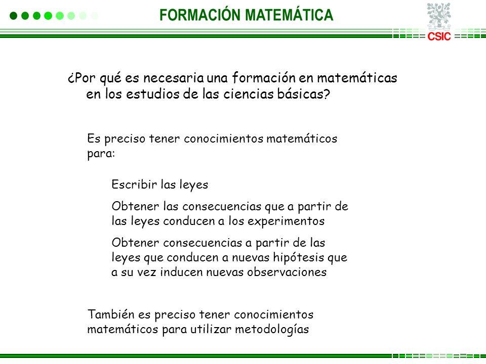FORMACIÓN MATEMÁTICA ¿Por qué es necesaria una formación en matemáticas en los estudios de las ciencias básicas